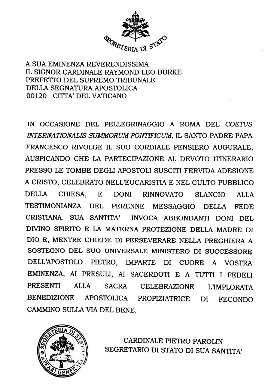 Messaggio di papa Francesco per il III Pellegrinaggio Summorum Pontificum