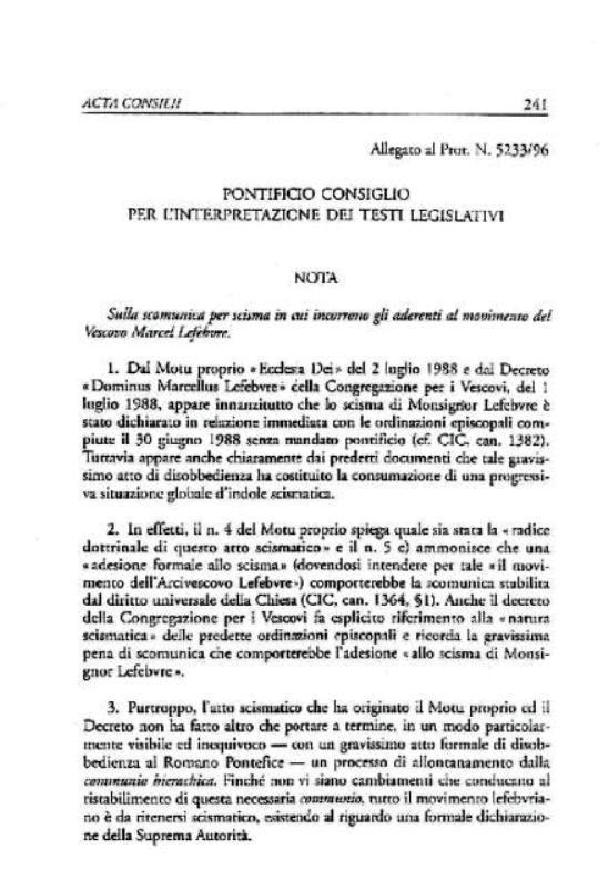 Nota esplicativa 24 agosto 1996 del Pontificio Consiglio per l'Interpretazione dei Testi Legislativi