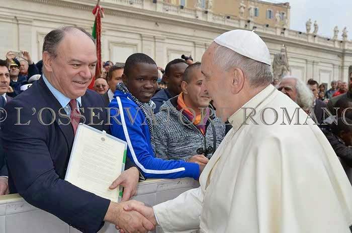 26 novembre 2014 il presidente della FIUV incontra papa Francesco