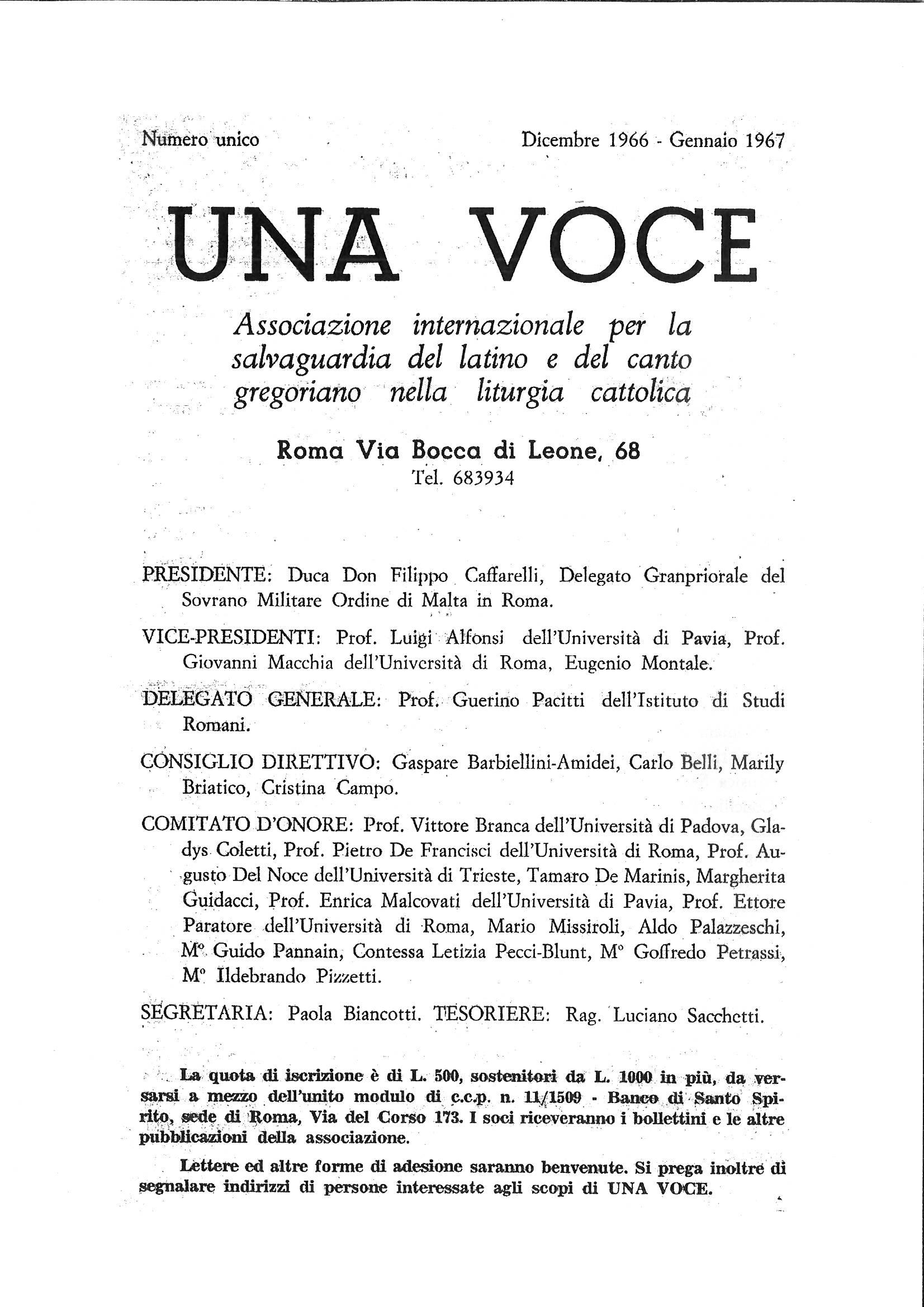 Una Voce numero unico 1966-1967, p. 1