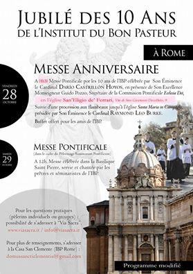 Messa pontificale per il X anniversario dell'Istituto del Buon Pastore, Roma