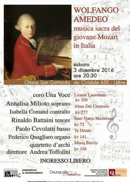 """Concerto """"Wolfango Amedeo. Musica sacra del giovane Mozart in Italia"""", Coro Una Voce Udine, 3 dicembre 2016"""