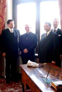 Card. Darío Castrillón Hoyos udienza del presidente della FIUV 13 marzo 2004