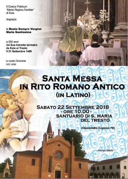 Santuario di S. Maria del Tresto a Ospedaletto Euganeo il 22 settembre 2018