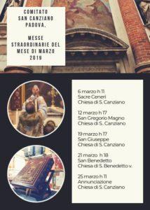 Comitato San Canziano Padova, Messe straordinarie del mese di marzo 2019