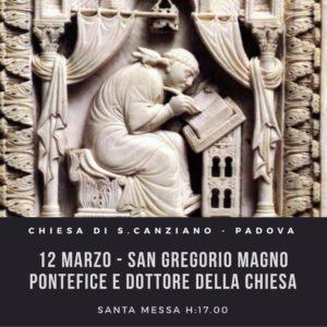 Padova chiesa di S. Canziano Messa per san Gregorio Magno il 12 marzo 2019