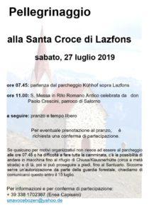 Pellegrinaggio al Santuario di S. Croce di Lazfons il 27 luglio 2019