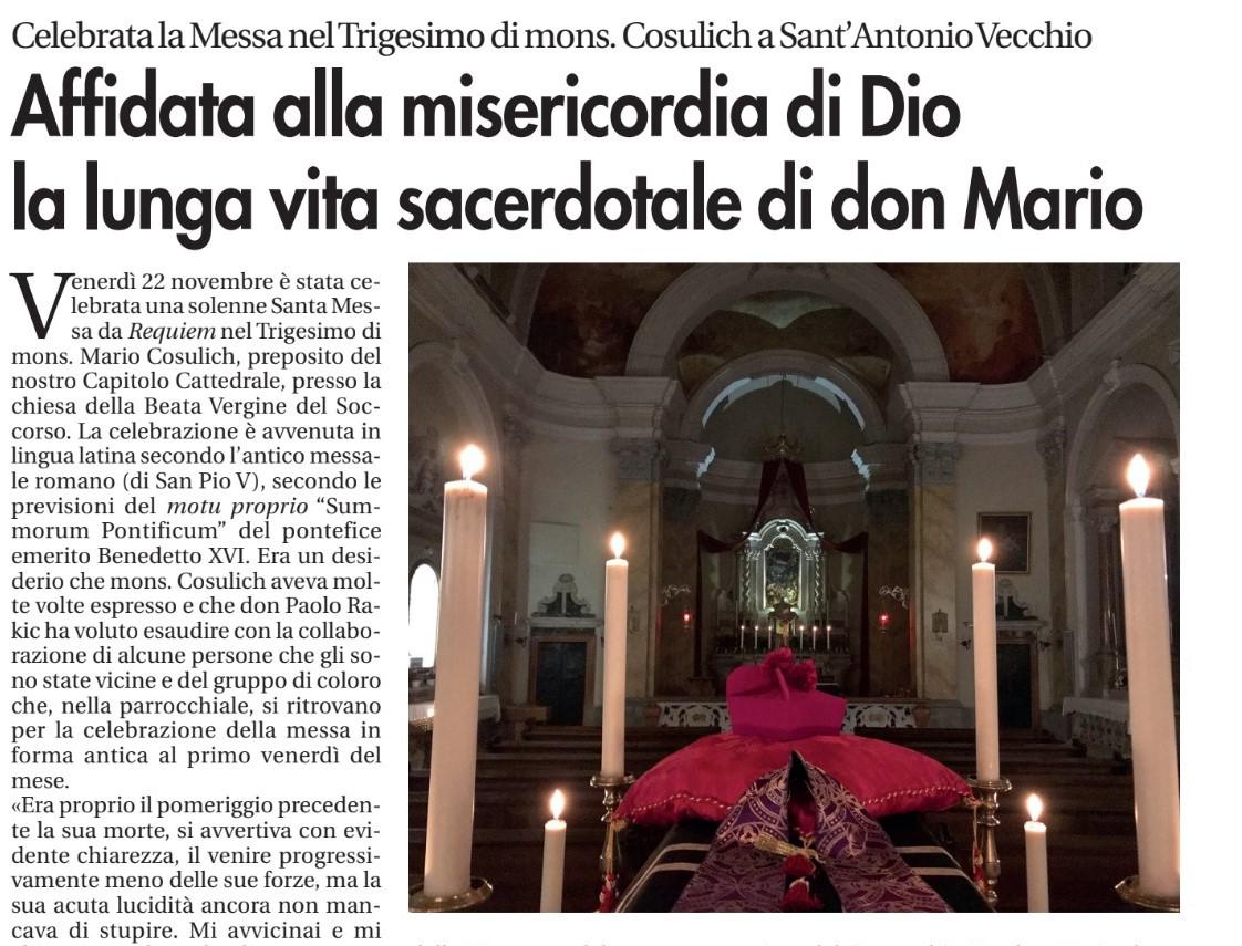 Affidata alla misericordia di Dio la lunga vita sacerdotale di don Mario, Vita Nuova, 29 novembre 2019